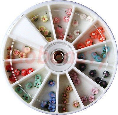 8cm WHEEL 3D NAIL ART FLOWERS DESIGN CRAFT NAILS MIXED COLOURS