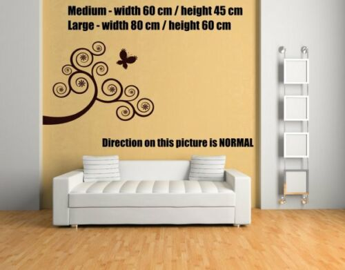 Swirly Abstract Butterfly Tree Wall Stickers Decor Removable Wall Transfer UK