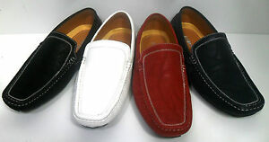 Men-039-s-FARANZI-black-white-red-blue-driving-moccasins-style-F4404
