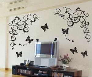 DIY-House-Decorative-Wall-Sticker-1-set-1-vine-3butterfly-50-60cm-B006-1