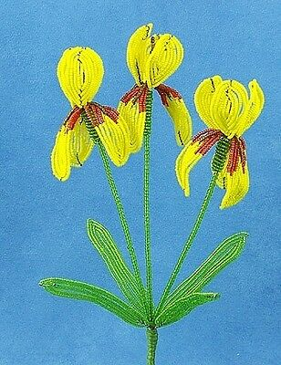 Vintage French Glass Beaded Yellow Iris #2 Flower Bouquet