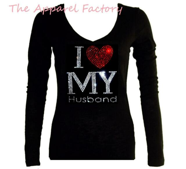 Junior's Rhinestone I LOVE MY HUSBAND Black V Neck Long Sleeve T Shirt bride Tee