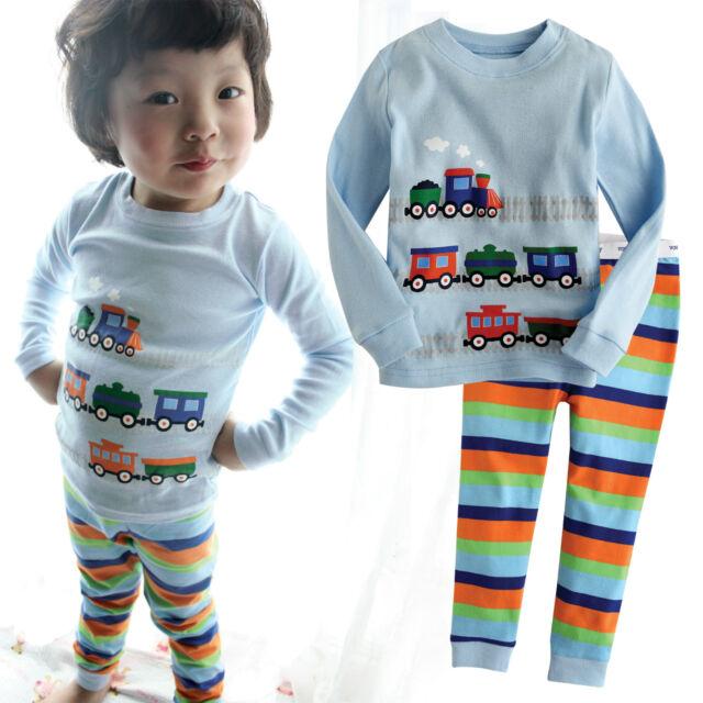 "NWT Vaenait Baby Toddler Kid's Indoor Wearing Sleepwear Pajama Set""Little Train"""