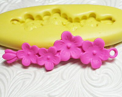 "2 1/4"" Silicone Resin Clay Fondant Flexible Polymer FIMO Push Mold FLOWER BRANCH"