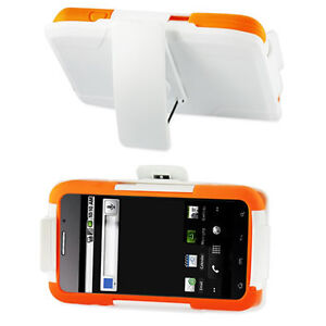 HOLSTER-ORANGE-WHITE-RUBBERIZED-HARD-COVER-CASE-FOR-ZTE-WARP-N860-BOOST-MOBILE