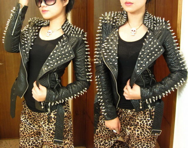 Strong Punk  Spike Studded Shoulder PU Snake Leather Black Cropped Coat Jacket