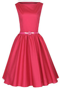 NEW-CLASSY-AUDREY-VINTAGE-RASPBERRY-PINK-1950-039-s-ROCKABILLY-SWING-DRESS-HEPBURN
