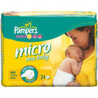 Pampers  Baby Size 0 Micro Nappies - 6 x Carry Packs of 24 (144 Nappies)