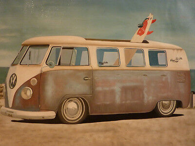 VW Kombi - Hand oil painting canvas ART volkswagen van beach surfboard surfing