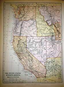 1882 LARGE VICTORIAN MAP ~ UNITED STATES NORTH AMERICA ~ PACIFIC STATES