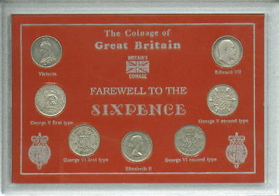 GB Great Britain Farewell To The Silver Sixpence British 6d Sixpences Coin Set