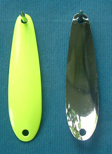 12 2 3 8 nickel back chartreuse front spoon blanks for Fishing spoon blanks