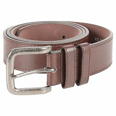 New Men's Duke Kingsize Brown Bonded Leather Buckle Belt Big Sizes 44 to 64
