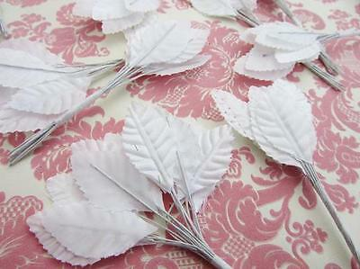 "144 Poly Silk Leaf 4"" Wire Stem Floral Craft/Winter/Holiday Leaves H71-White"