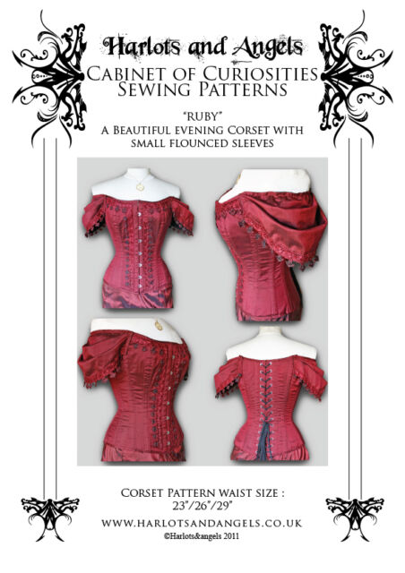 "Steampunk Gothic ""Ruby"" Corset Sewing Pattern off shoulder sleeved corset Medium"
