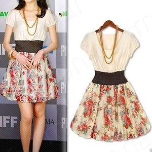 Girls-Rose-Flower-Print-Chiffon-Mini-Crewneck-Elastic-Waist-Fit-Pleated-Dress