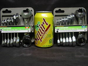 Stubby-Ratcheting-Combo-Wrench-Set-SAE-METRIC-Socket-Wrenches-Mechanic-Tool