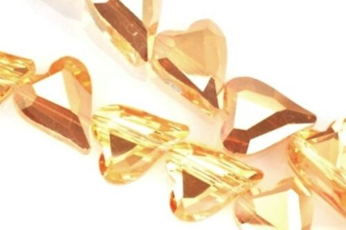 18 Stück 17mm Groß Schimmernd Herz Schnitt Glas Kristall Perlen