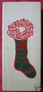 Christmas Stocking  New Wood-mounted  Rubber Stamp Scrappy Cat