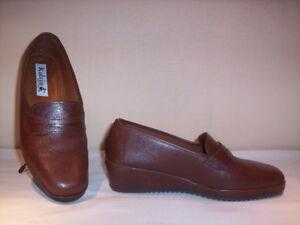 Scarpe-classiche-comode-mocassini-Katrin-donna-shoes-zeppa-pelle-marroni-new-36