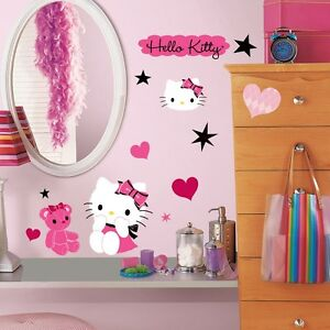 HELLO KITTY COUTURE 38 BiG Wall Decals Pink Black Room Decor Sticker STARS HEART