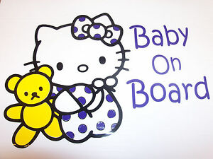 Baby-On-Board-Hello-Kitty-Vinyl-Decal-Sticker-Any-Color-Or-Size-On-request