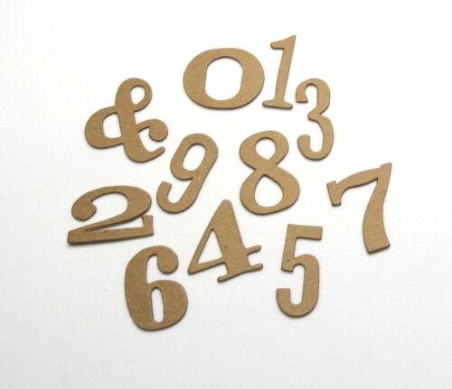 Color or Textured Chipboard Number Set White 22 pcs Tim Holtz Word Play Raw