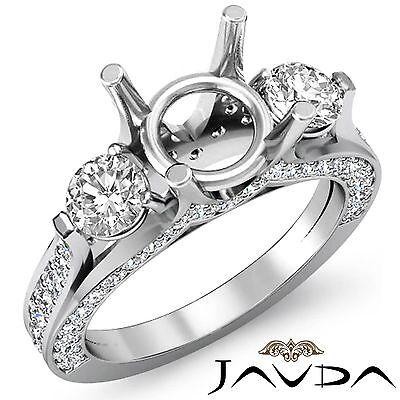 Round Diamond Engagement Unique Three Stone Ring 18k White Gold Semi Mount 1.3Ct