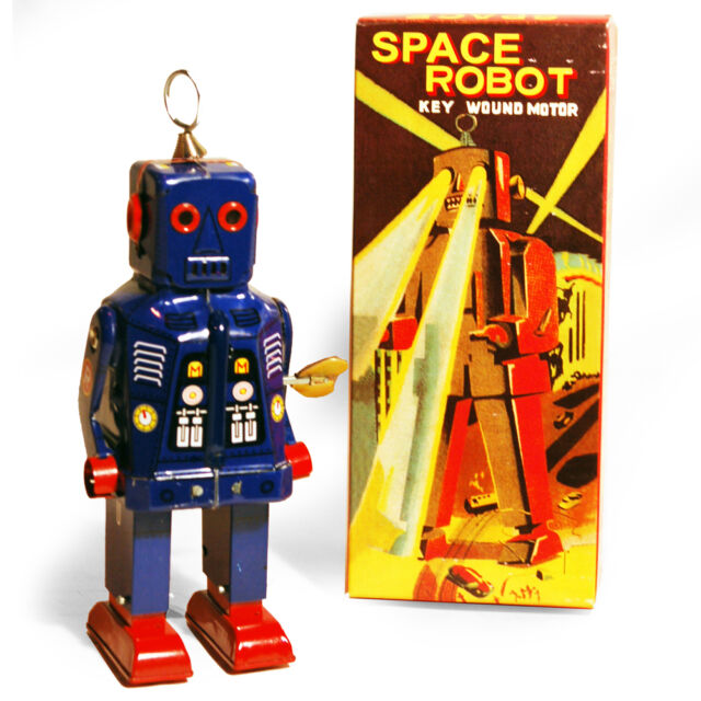 SPARKLING ROBOT - Retro Tin Collectable Ornament - Blue TMS403B
