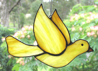 SUNNY YELLOW CHRISTMAS DOVE Stained Glass Leadlight Ready To Hang Silver Finish