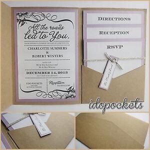 Kraft Wedding Pocket Invitations Diy Pocketfold Envelopes Brown