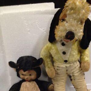 RUSHTON-DOG-STAR-CREATIONS-Rubber-Face-Bear-YELLOW-PUPPY-VINTAGE-STUFFED-Black