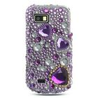 Samsung T939 T-939 Behold II 2 Cell Phone Full Diamond Crystal Bling Protective Case Cover Purple with Silver Gold Love Hearts Gemstones Design