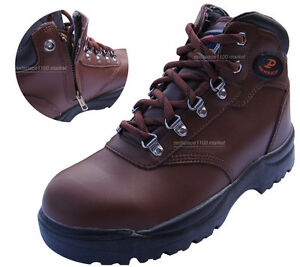 347b6ca68fa Details about Men Safety Work Boots Steel Toe Cap Zippers feature  Proworldcup brown color