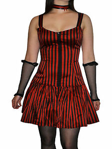 Phaze-Clothing-Red-amp-Black-Striped-Josie-Strappy-Gathered-Zipped-Mini-Dress