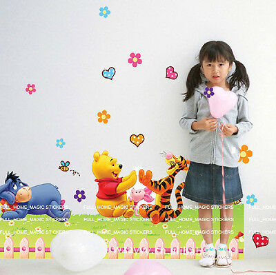 Reusable Winnie The Pooh&Friends Wall Stickers Nursery Girl Boy Kids Room Decals