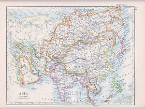 India In Asia Map.1894 Victorian Map Asia India Arabia Siberia Tibet China Persia