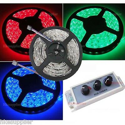 5M RGB SMD 5050 Waterproof 60Leds/M  Strip+Dimmer+Power
