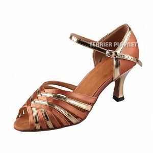 TPS-Tan-Satin-amp-Gold-Patent-Latin-Ballroom-Salsa-Custom-made-Dance-Shoes-D902
