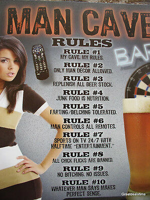 Metal Home Decor BEER Man Cave RULES Bar Room FUNNY Sign
