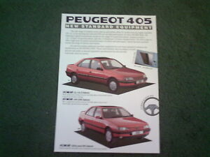 1989-PEUGEOT-405-NEW-STANDARD-EQUIPMENT-SALOON-amp-ESTATE-UK-SINGLE-SHEET-BROCHURE