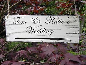 Image Is Loading Personalised Wedding This Way Directional Sign Shabby Vintage