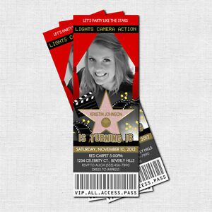 hollywood red carpet party ticket invitations print your own