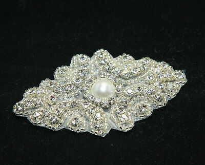 LOT OF 2 BEADED GLASS CRYSTAL RHINESTONE WEDDING FAUX PEARL GARTER SET APPLIQUE