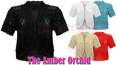 LADIES PLUS SIZE CROCHET BOLERO SHRUG WOMENS DIAMOND KNITTED CARDIGAN TOP 16-32