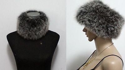 Genuine fox fur hand knitting elastic headband neck warmer scarfs scarves black