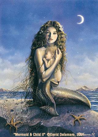 Mermaid Mother & Baby Art by David Delamare (R06-16)