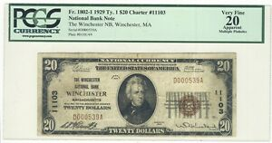 C3668-1929-TY-1-20-CHARTER-11103-NATIONAL-BANKNOTE-WINCHESTER-MA-PCGS-VF20