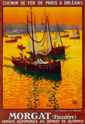 Chemin de Fer Orleans Morgat  Decorative Poster 2957 Fine Graphic Art Design