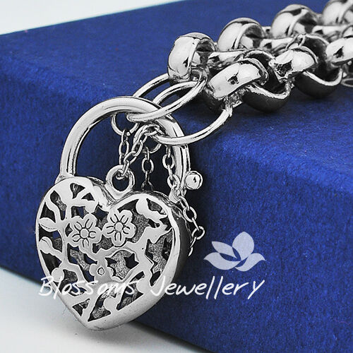 18K 18CT White GOLD GF Heart PADLOCK Charm BRACELET Belcher Ring CHAIN S728s